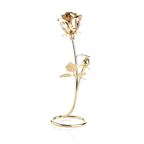 24K Gold Plated Rose with Clear-Cut Crystals