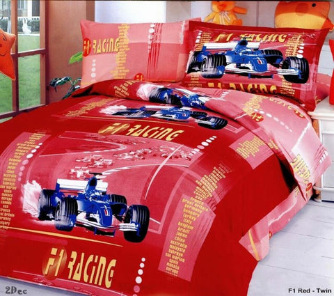 Racing Car Red Luxury Duvet Cover Bedding Set