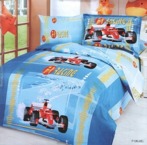 Racing Car Blue Luxury Duvet Cover Bedding Set