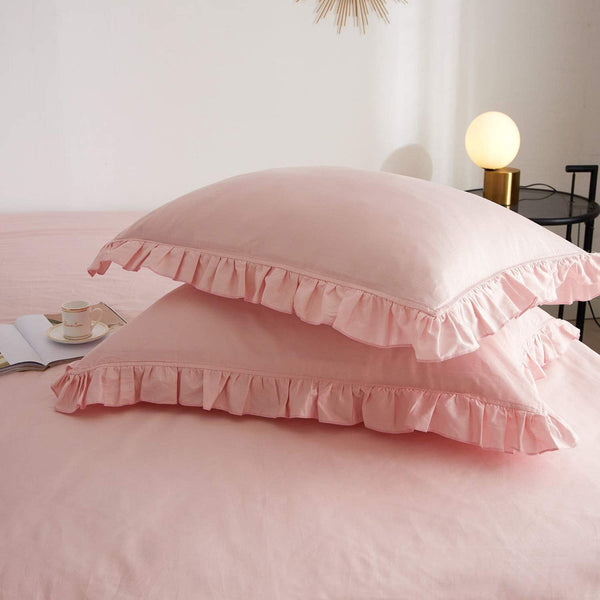Luxurious Ruffle Edge Duvet Cover Bedding Set, Pink