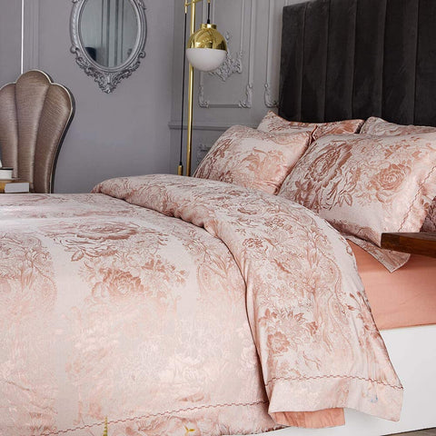 Pink Roses Luxury Duvet Cover Bedding Set