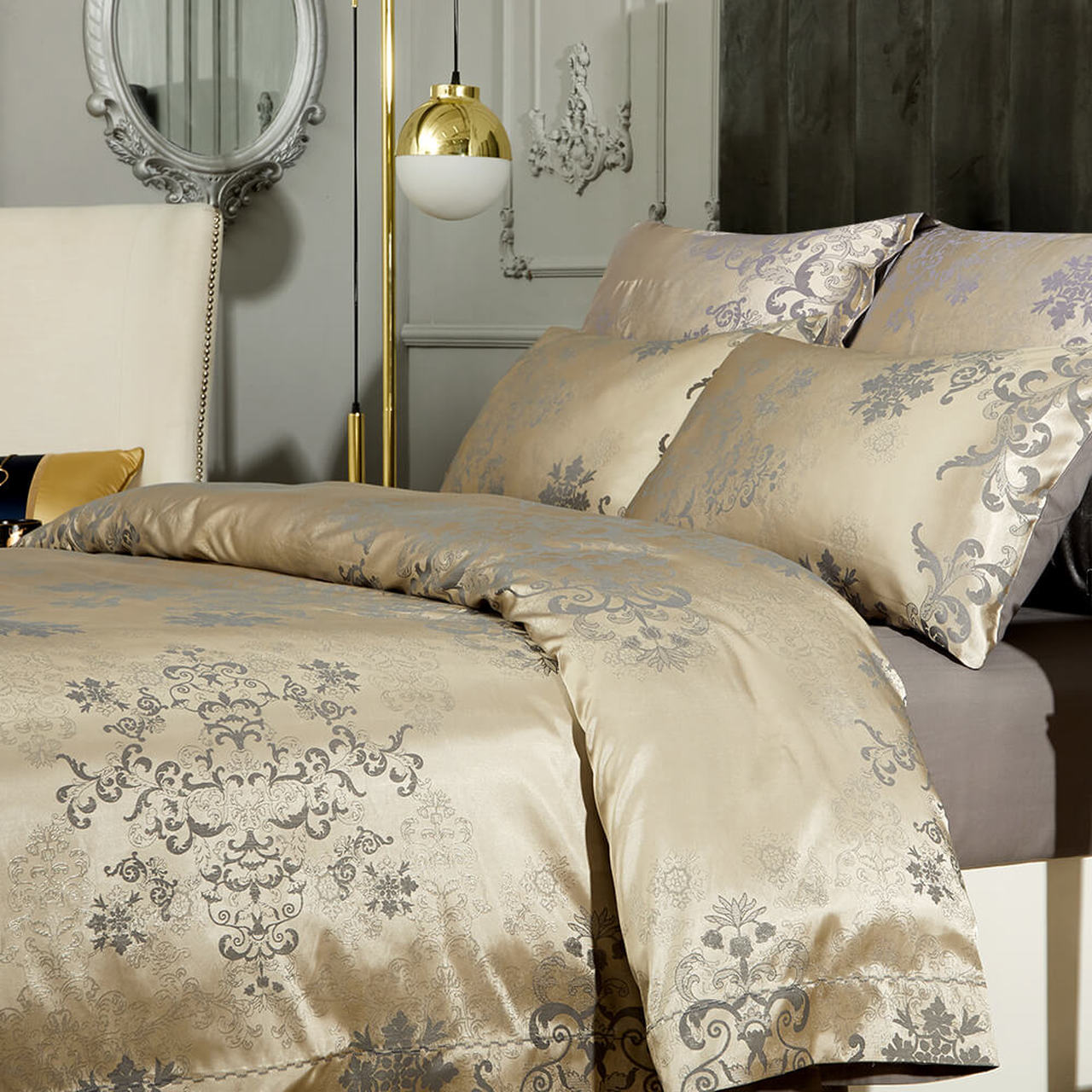 Beige Jacquard Luxury Duvet Cover Bedding Set