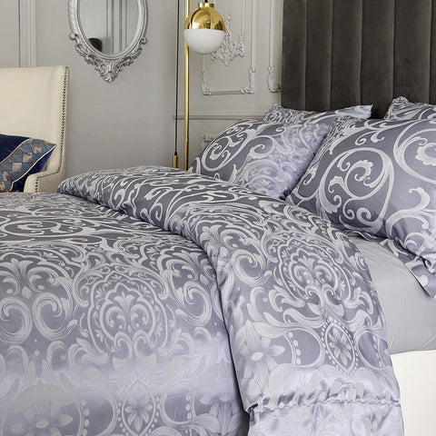 Purple Jacquard Luxury Duvet Cover Bedding Set