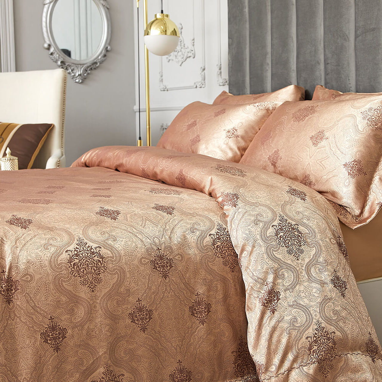 Golden Jacquard Luxury Duvet Cover Bedding Set