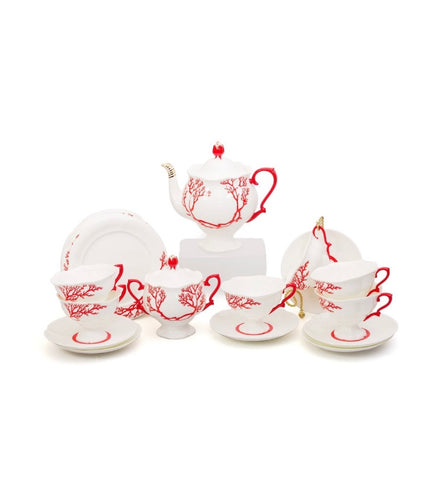 Coral Porcelain Tea Set, 20 Piece