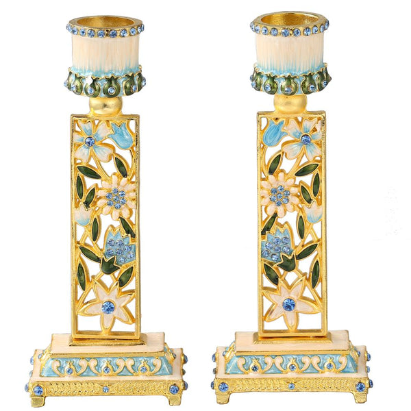 Floral Candle Holders, Set of 2
