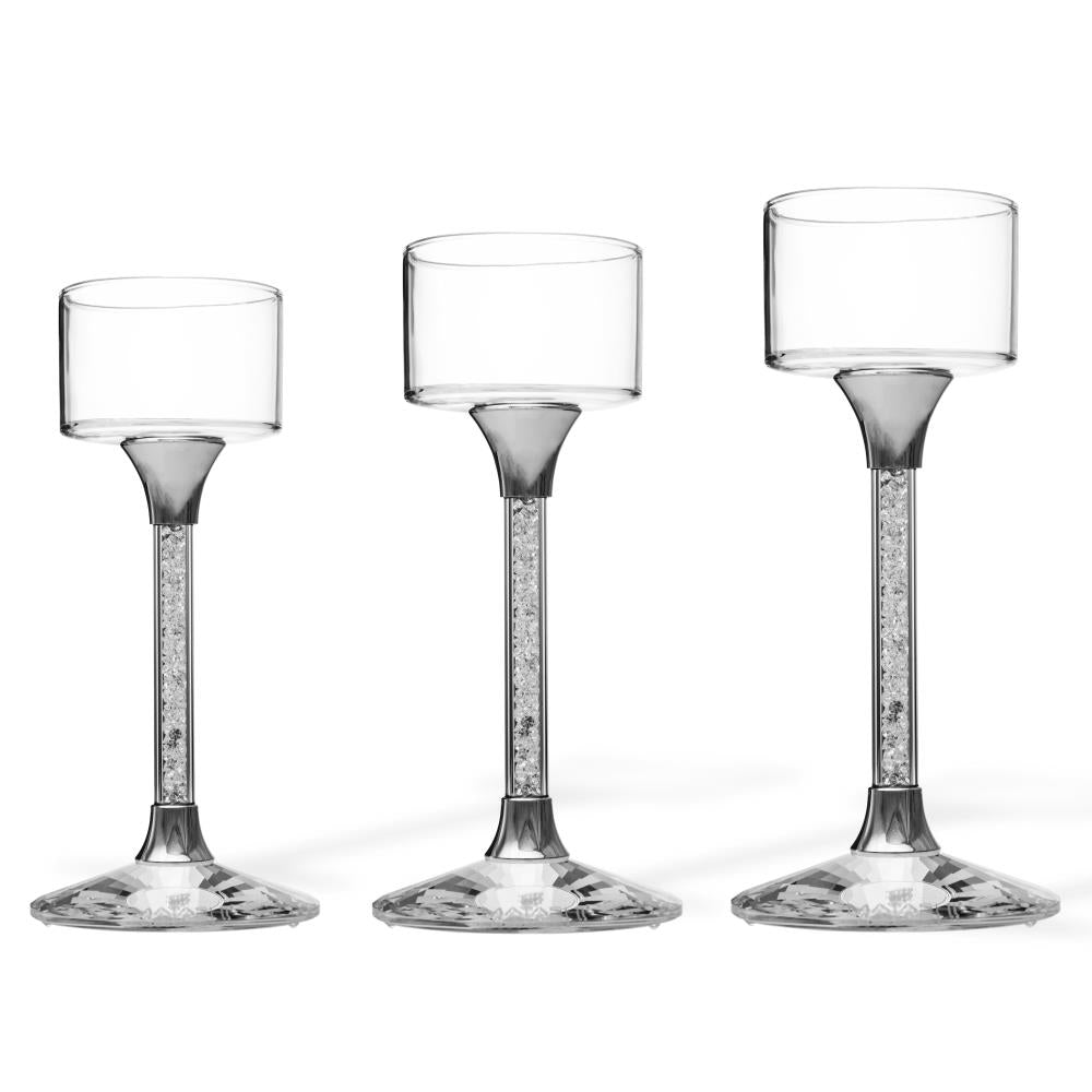 Crystal Candle Holders, Set of 3