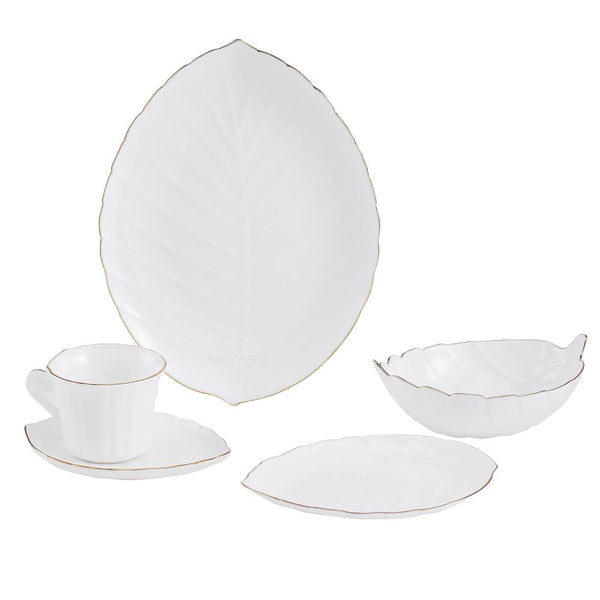 Vine Collection Dinnerware Set Gold Rim, 20-Piece