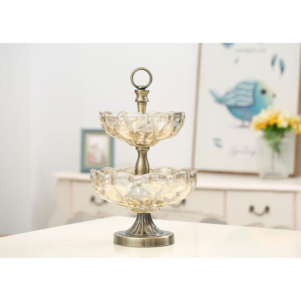 Vintage Design Two-Tier Glass Server
