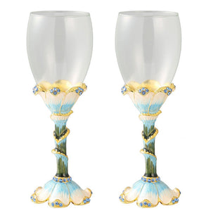 Wine Glass Blue Painted Stemware, Set of 2