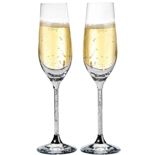 Champagne Flute with Crystals, Set of 2