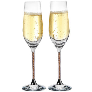 Champagne Flute with Gold Crystals, Set of 2