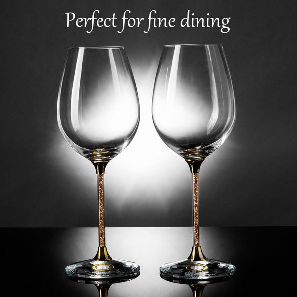 Wine Glasses with Gold Crystals 15.5 oz., Set of 2