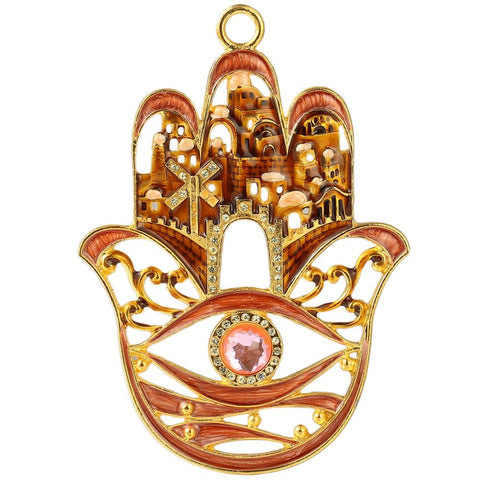 Hamsa City Design Blessing Ornament, Red