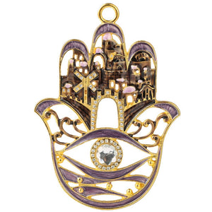 Hamsa City Design Ornament, Purple