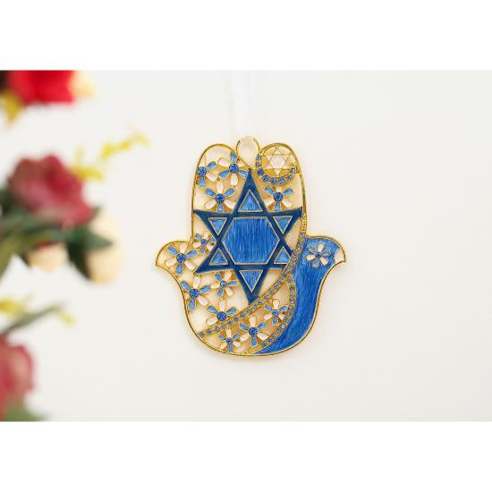 Hamsa Flower and Dove Ornament, Blue
