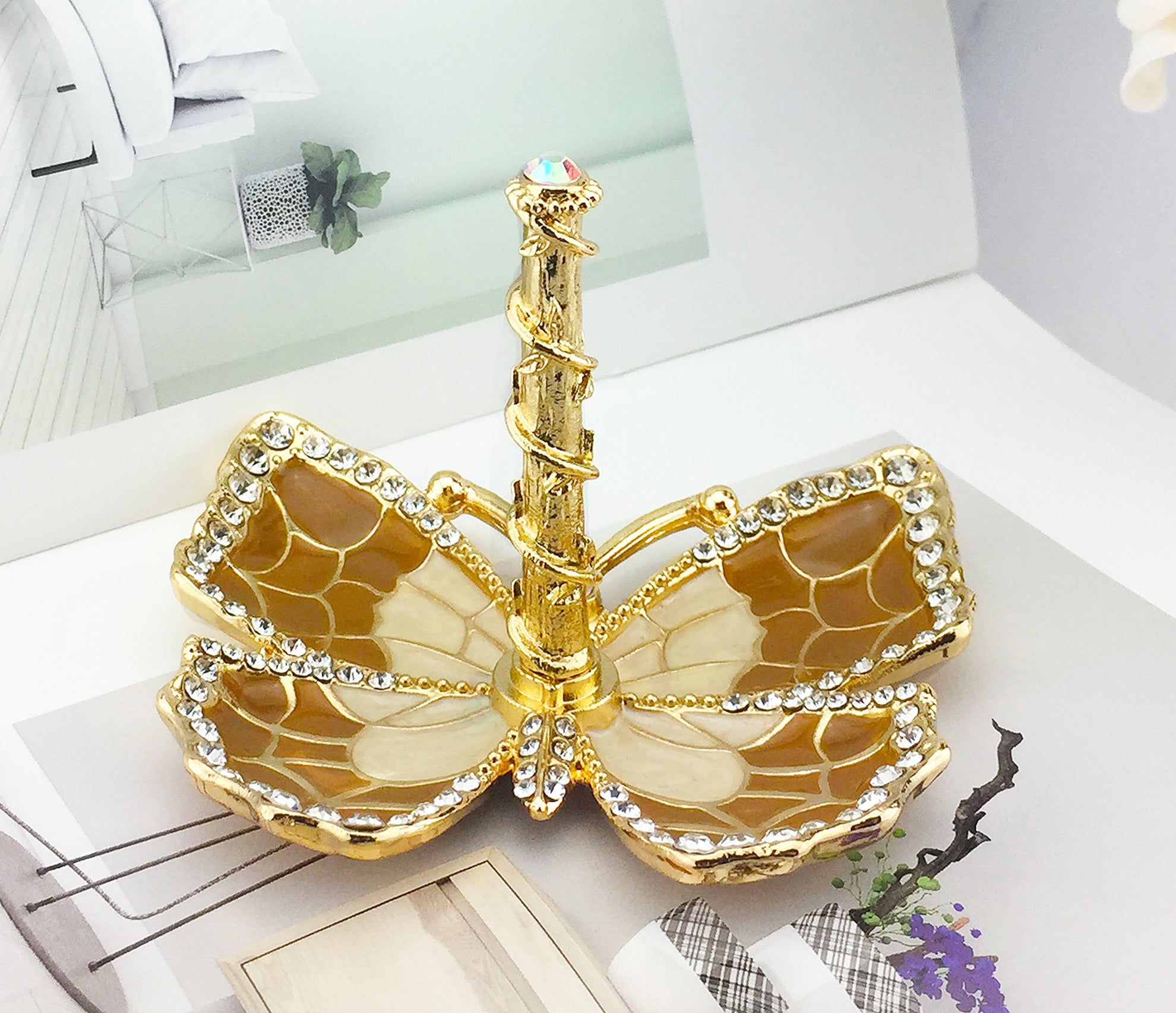 Butterfly Jewelry Ring Holder, Brown