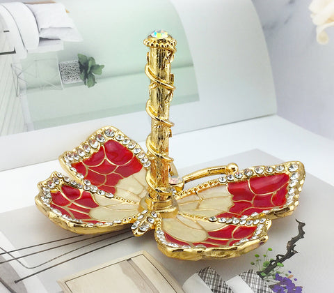 Butterfly Jewelry Ring Holder, Red