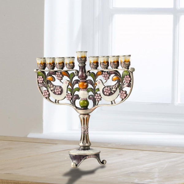 Menorah Embellished with Doves and Flowers Design
