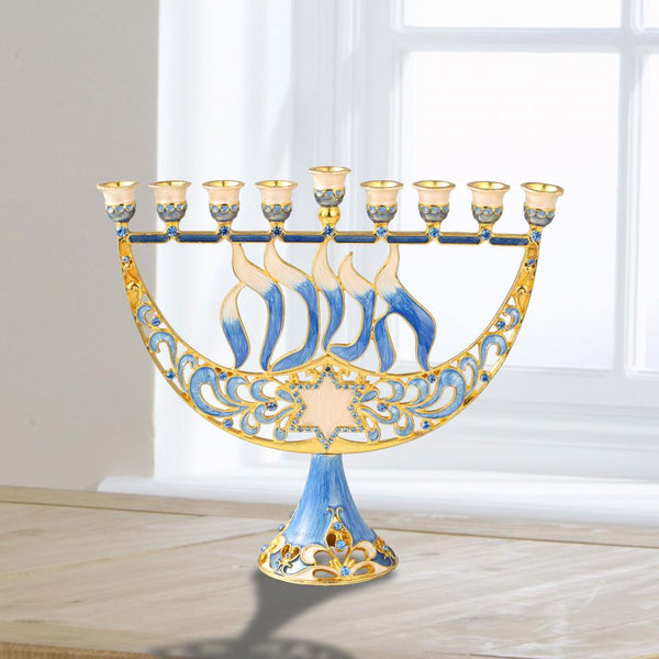 Menorah with Star of David and Hanukkah Design