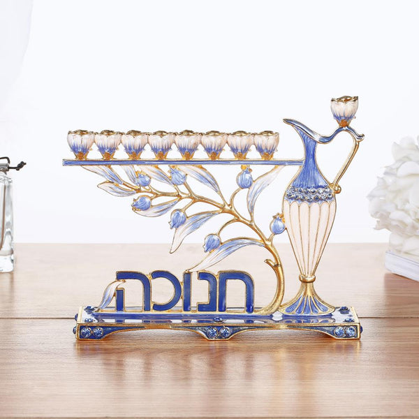 "Menorah With Hebrew ""Hanukkah"" Design"