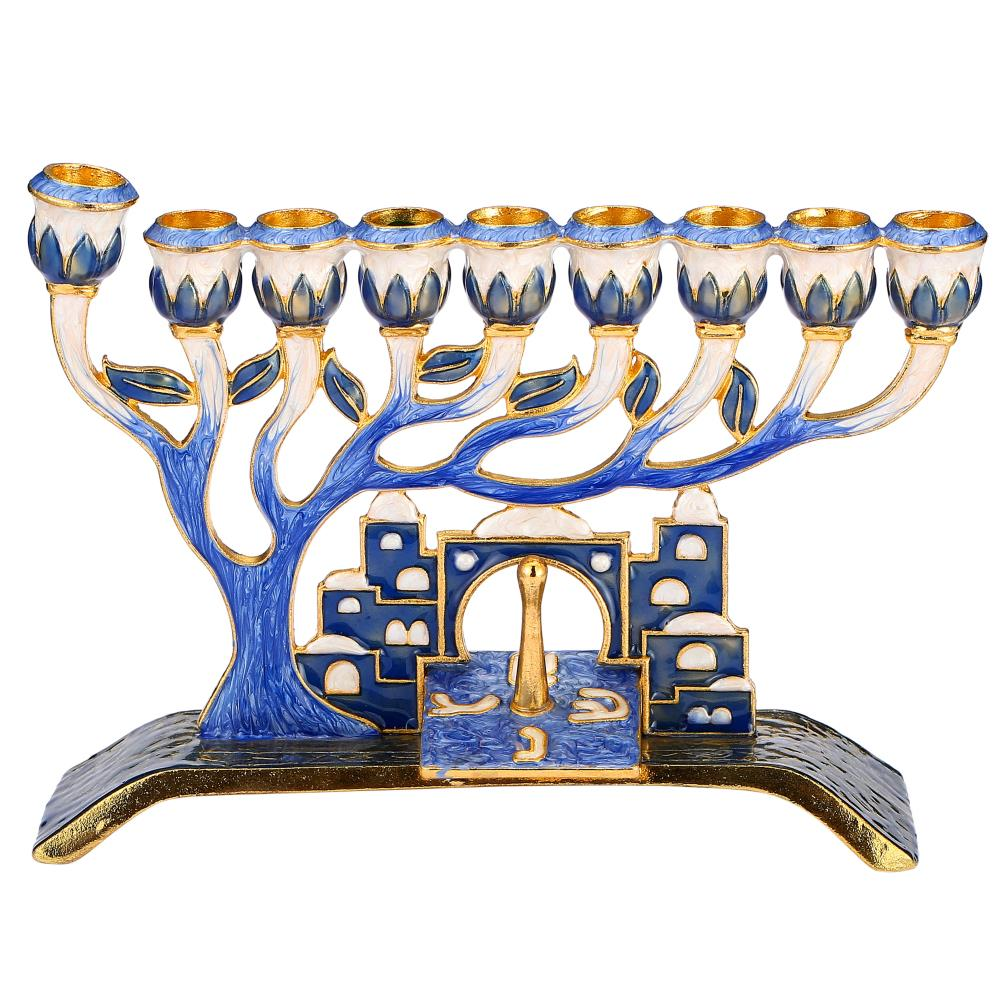 Menorah With Jerusalem City and Dreidel Design