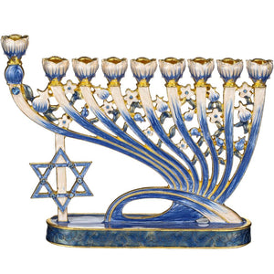 Menorah With Modern Flow and Star of David Design