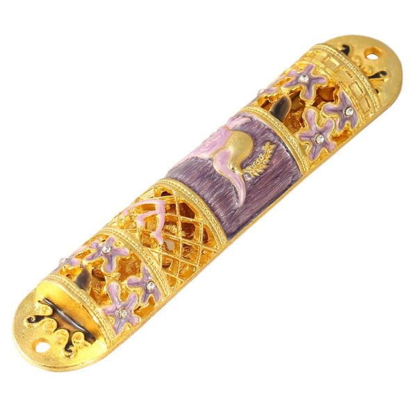 Purple and Gold Mezuzah with Floral Design