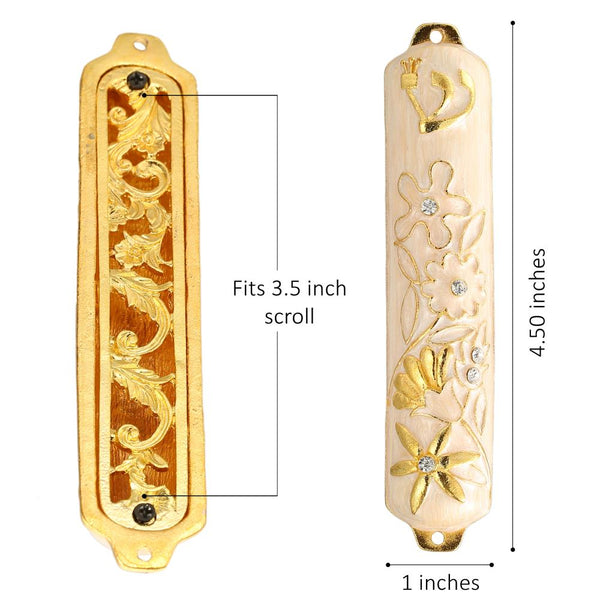 White Mezuzah with Floral Design
