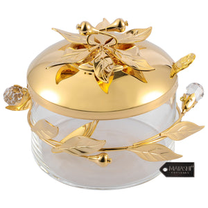 Flower and Vine Design Sugar Bowl, Gold