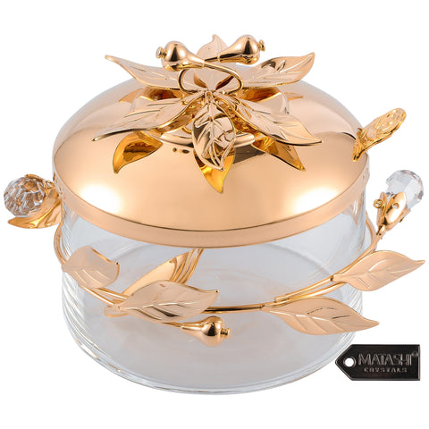 Flower and Vine Design Sugar Bowl, Rose Gold