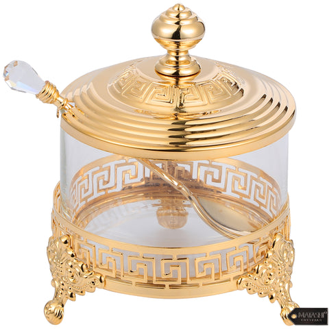 Versace Inspired Design Sugar Bowl with Spoon, Gold