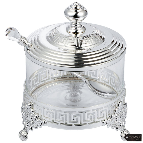 Versace Inspired Design Sugar Bowl with Spoon, Silver