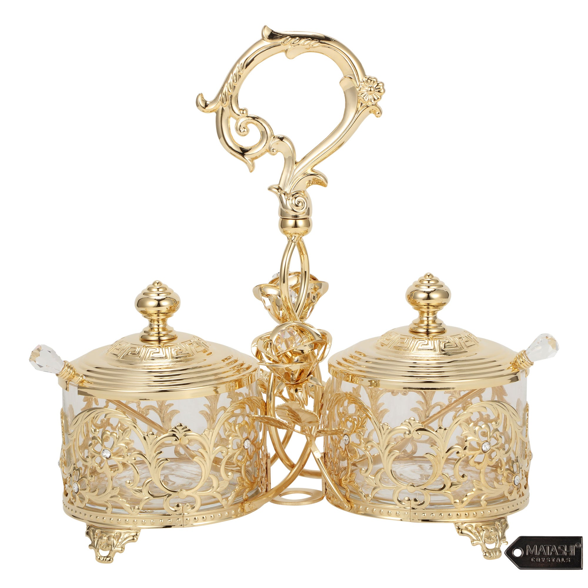 Crystal Studded Candy Dish, 24K Gold Plated