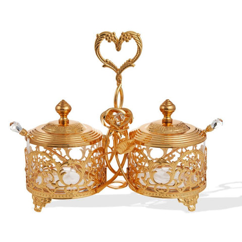 Crystal Studded Two Bowl Dish, Gold