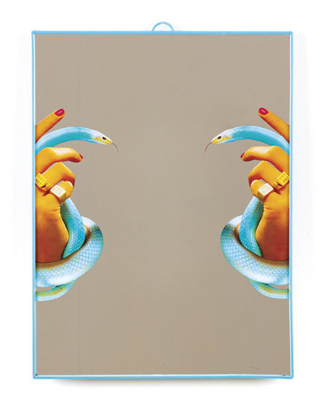 Graphic Printed Mirror Seletti, Hands with Snakes
