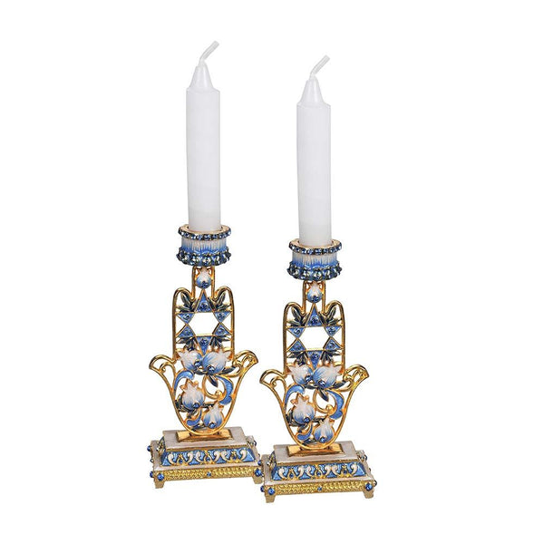 Candle Holder Hamsa Hand with Crystals, Set of 2
