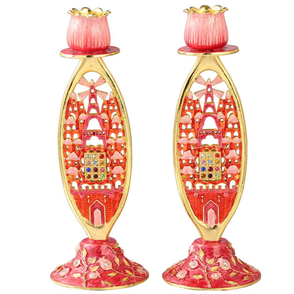 Candle Holder Pink Design with Crystals, Set of 2