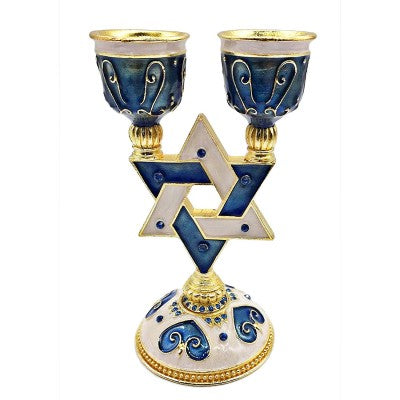 Star of David Gold Accent Design, Candle Holder