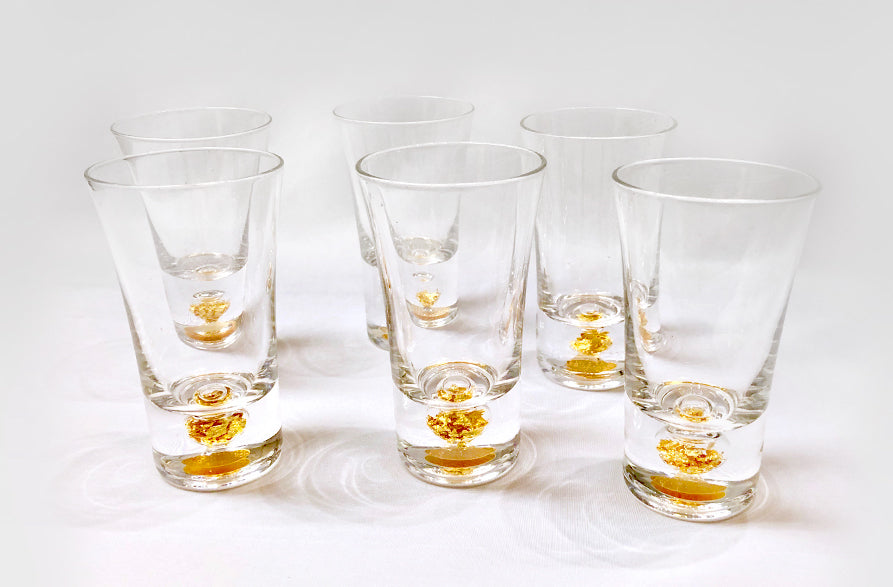 Shot Glass with Gold Leaf, Set of 6