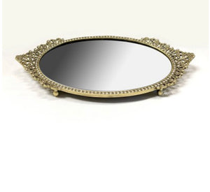 Vanity Mirror Tray with Crystals, Gold