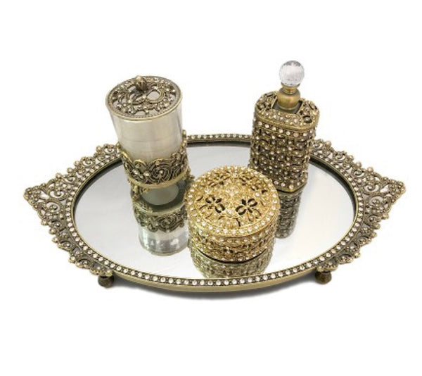 Vanity Set with Crystals, Gold