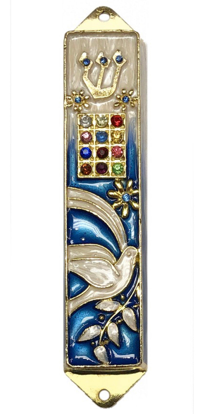 Mezuzah Blue with Colored Crystals