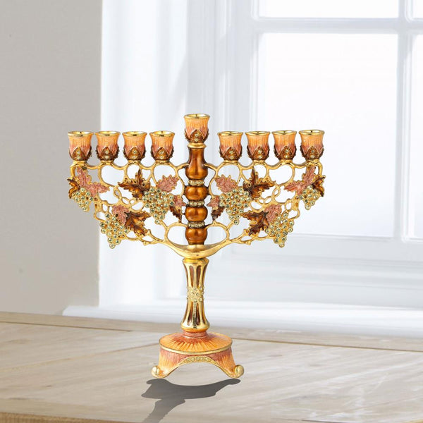 Menorah Embellished with Intertwining Vineyard Design