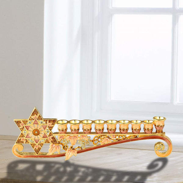 Menorah Embellished with a Star of David Design Long