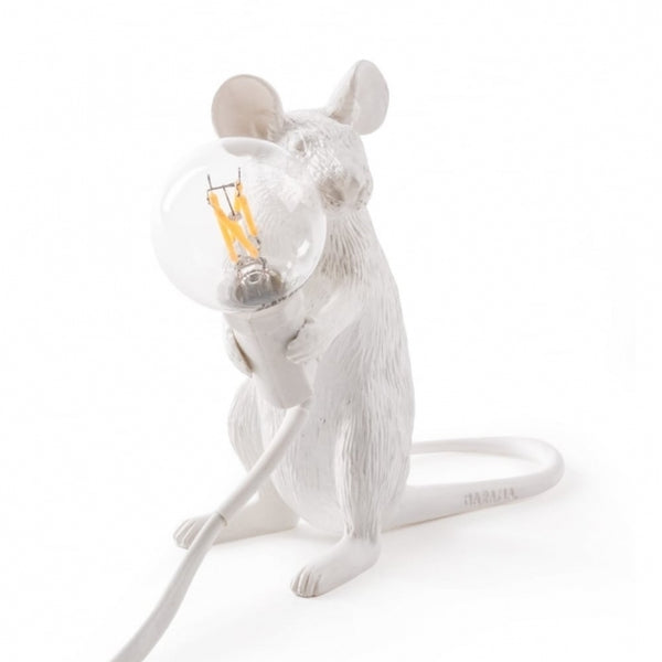 Mouse Lamp Sitting Seletti, White