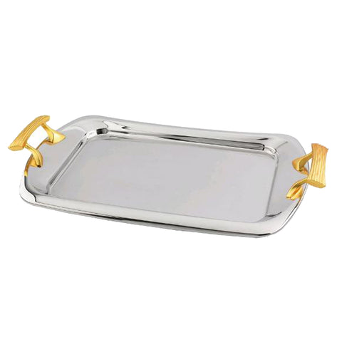 Rectangular Serving Tray with Gold Tone Handles