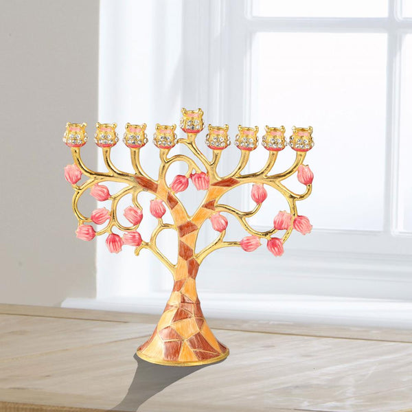 Menorah Embellished with Pomegranate Design