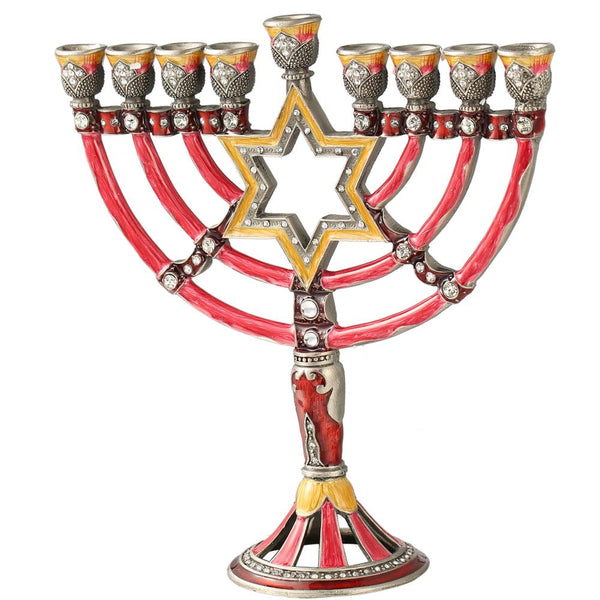 Menorah Star of David Design Red