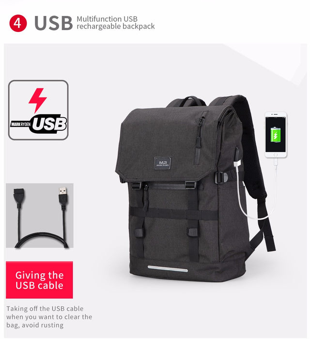 Design Large Capacity 15.6 Inch Laptop Bag Backpack with USB for Travel Work Daypack